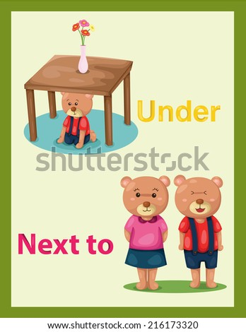 illustration of  cartoon bear with vocabulary under and next to - stock photo