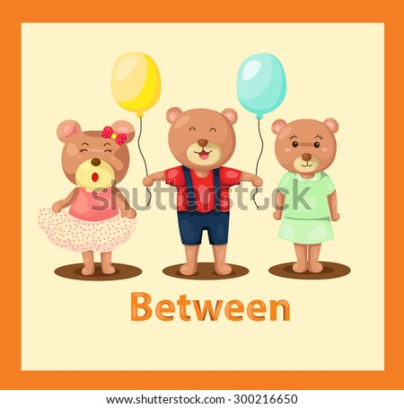 illustration of  cartoon bears with vocabulary between - stock photo