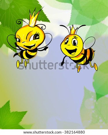 Illustration of cartoon bees flying in the air