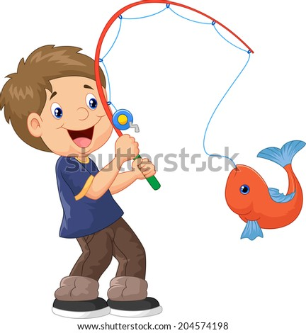 Illustration of Cartoon Boy fishing - stock photo