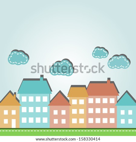Illustration of cartoon city houses and clouds - stock photo
