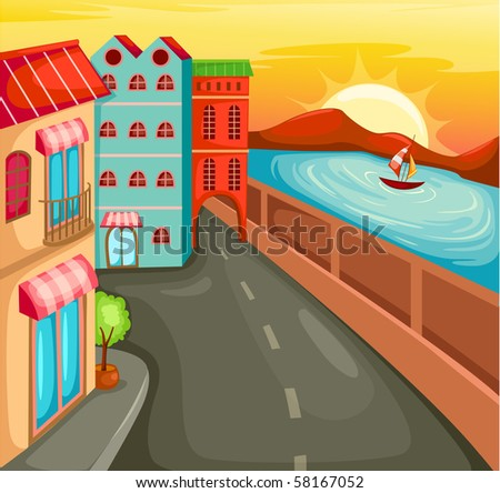 illustration of cartoon cityscape with river scene
