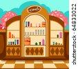 illustration of cartoon cosmetic shop - stock photo