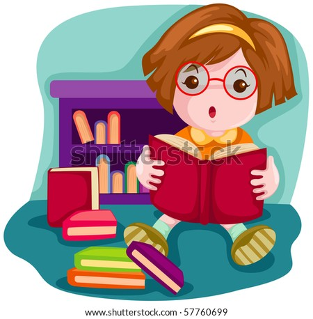 illustration of  cartoon cute girl reading a book - stock photo