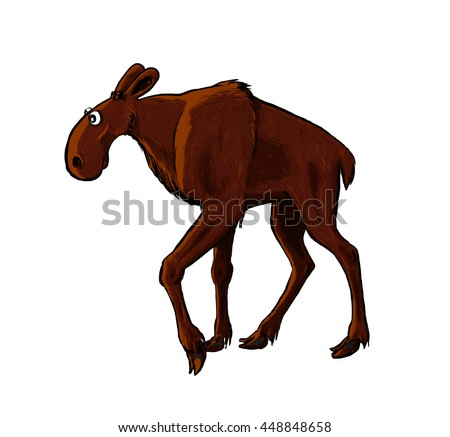 Illustration of cartoon elk. Funny pictured animal on white background.
