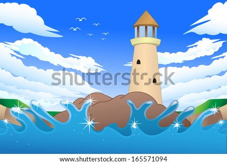 illustration of cartoon light house on shore in front sea background - stock photo