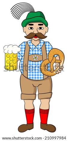 illustration of cartoon oktoberfest man with beer and pretzel - stock photo