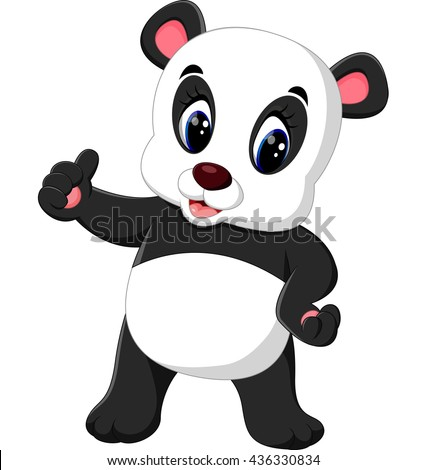 illustration of Cartoon panda presenting