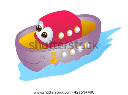 illustration of cartoon sea boat  on isolated white background - stock photo