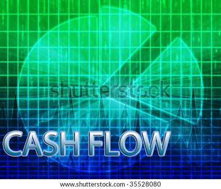 Illustration of cash flow budgeting finance and business pie chart - stock photo
