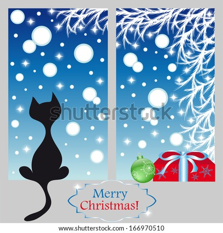 Illustration of cat on a window.Winter background. - stock photo
