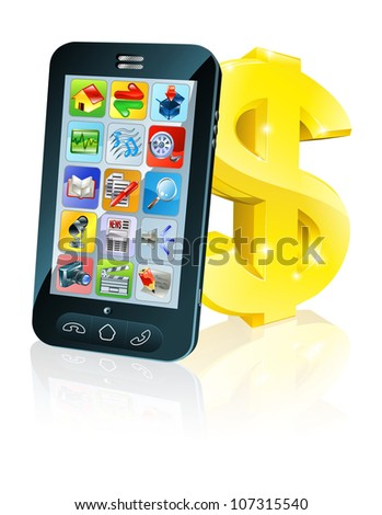 Illustration of cell phone leaning on dollar sign. Concept for financial app, or best phone deals or other finance cell phone related. - stock photo