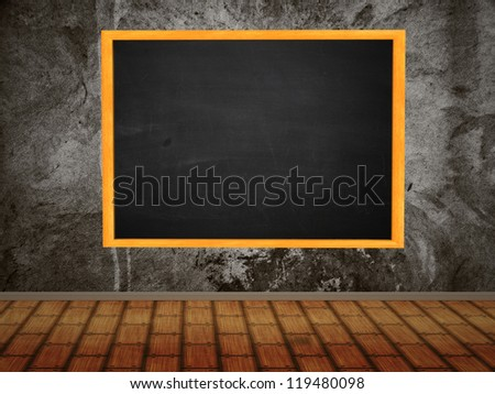 Illustration of chalkboard hang on wall in room style. - stock photo