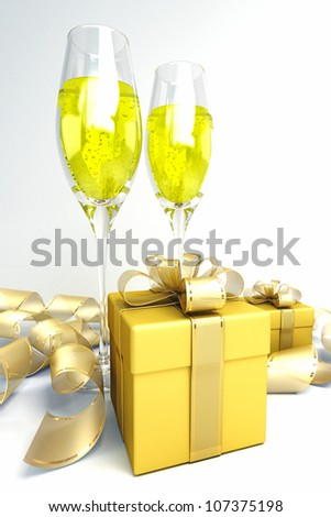 illustration of champagne glass with gift box - stock photo