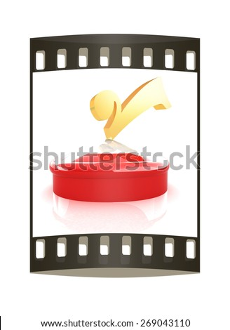 illustration of checkmark on isolated background. The film strip - stock photo