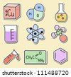 Illustration of chemistry icons - hand-drawn pictures - stickers - stock vector