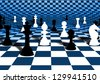 Illustration of chess pieces over a blue and white curved chessboard - stock photo