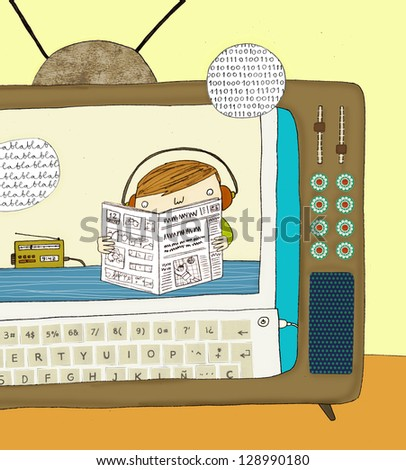 illustration of child connected to mass media - stock photo