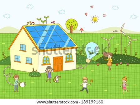 Illustration of children - stock photo