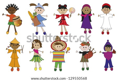 illustration of children of different nationaliy isolated - stock photo