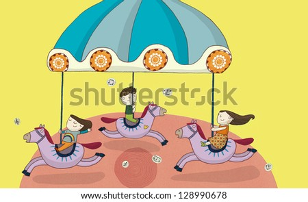 illustration of children on a merry go round - stock photo