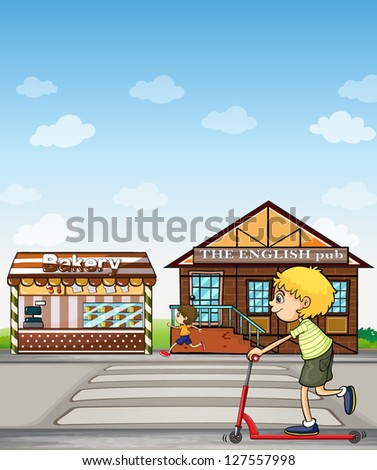 Illustration of children playing beside a bakery and pub. - stock photo
