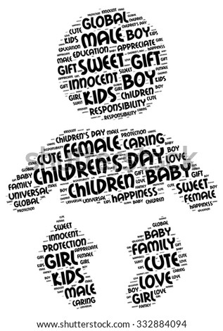 Illustration of Children's Day concept in modern word cloud. Major global variants include a Universal Children's Day on November 20, by United Nations recommendation