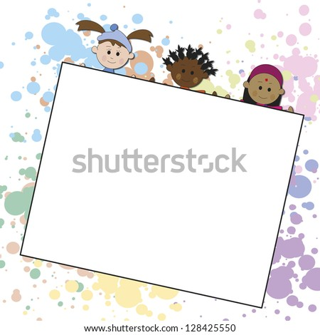 illustration of children with a white paper - stock photo