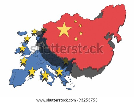 Illustration of China overshadowing and dominating the European nations and union.