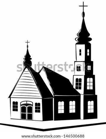 Illustration of christian church. - stock photo