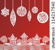 Illustration of christmas background red and white - stock photo