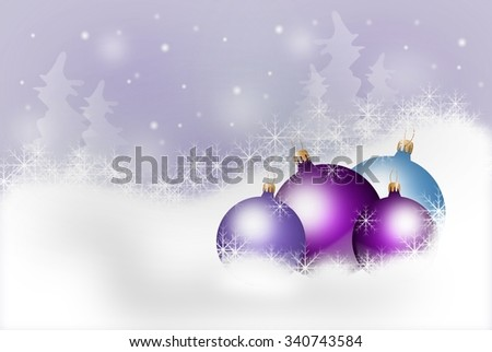 Illustration of christmas background with purple christmas bulbs