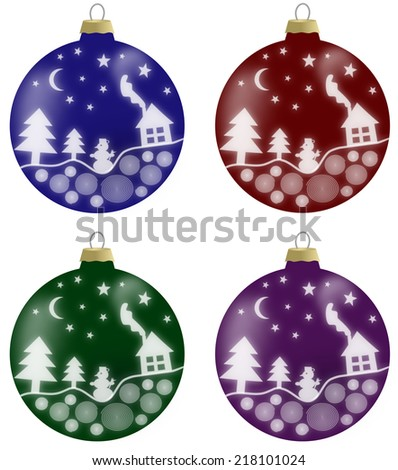 Illustration of christmas balls with winter scenery in 4 colors - blue, burgundy, green and violet - stock photo