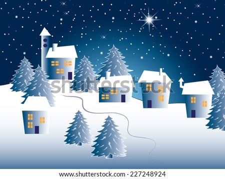illustration of christmas landscape with snow