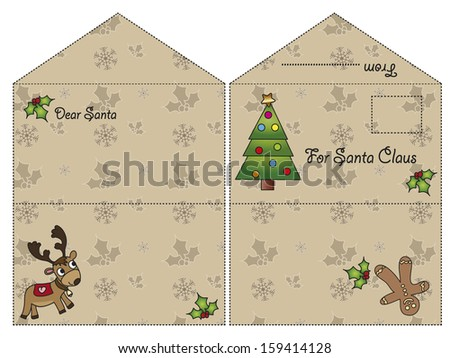 illustration of christmas letter for santa claus - stock photo