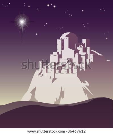 Illustration of Christmas star over Bethlehem announcing the birth of Jesus
