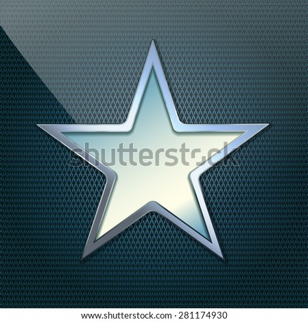 illustration of chrome star on grid background - stock photo