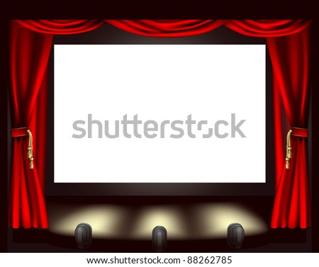 Illustration of cinema screen, lights and curtain - stock photo