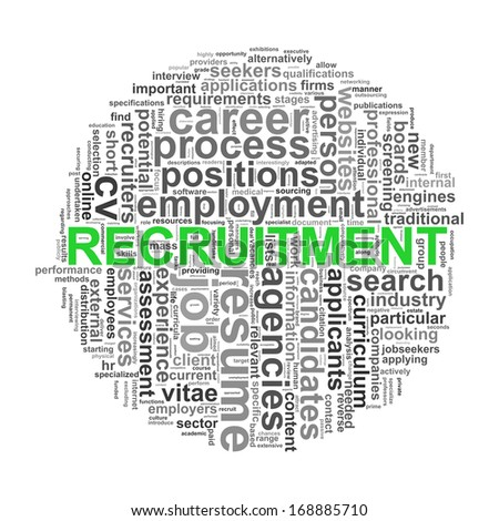 Illustration of circular design wordcloud word tags of recruitment