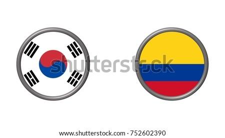 Illustration Circular Flag South Korea Columbia Stock Illustration