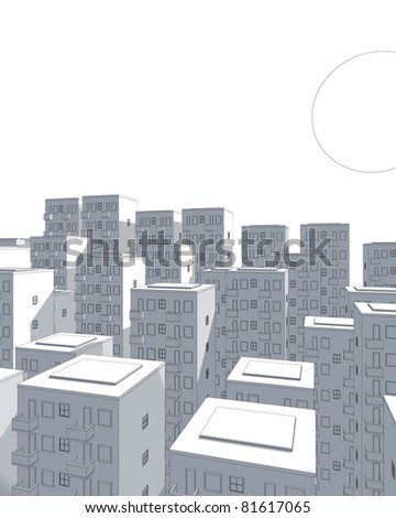 illustration of city and huge moon in blue