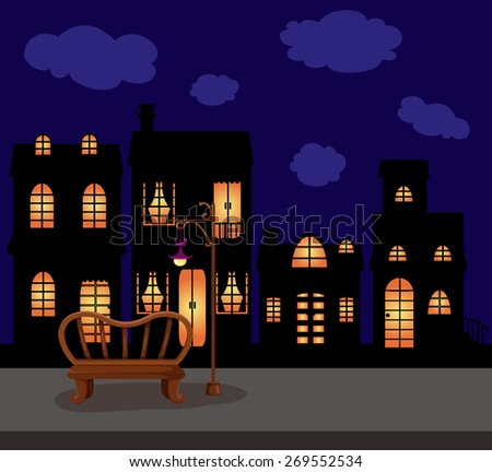 illustration of city scape dark night with empty branch and street lamp - stock photo