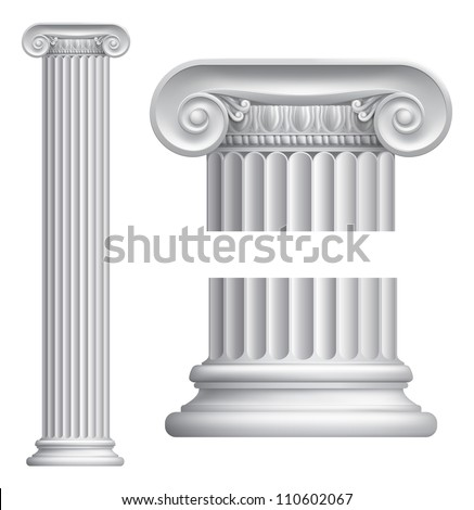 Illustration of classical Greek or Roman Ionic column