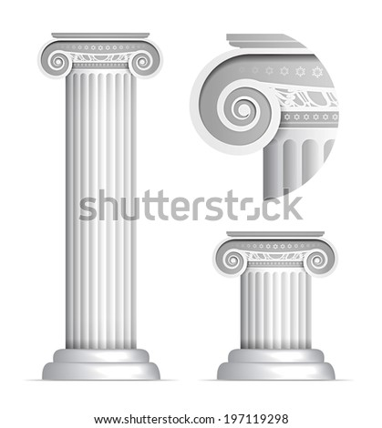 Illustration of classical Greek or Roman Ionic column on white background