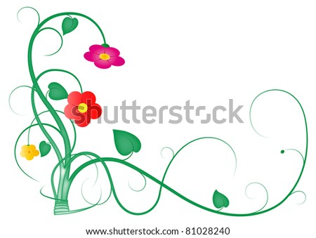 Illustration of climbing and intertwining stems, leaves and flowers on a white background