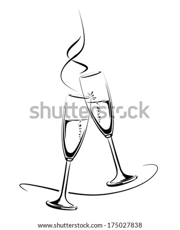 illustration of clinking champagne glasses for a festive occasion - stock photo