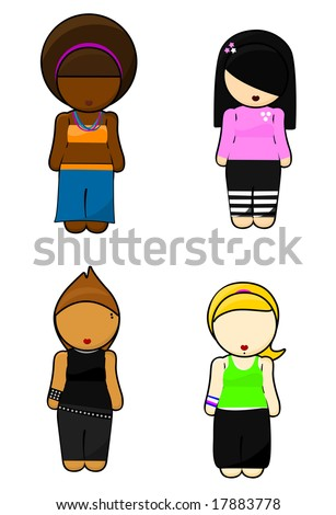 Illustration of cliques teenager Girls on white background - stock photo