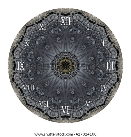 Illustration of clock face with architectural and metal elements, as part of watch with pointers, isolated on white background.