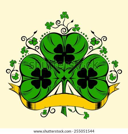 Illustration of clover, trefoil. Saint Patrick's Day. - stock photo