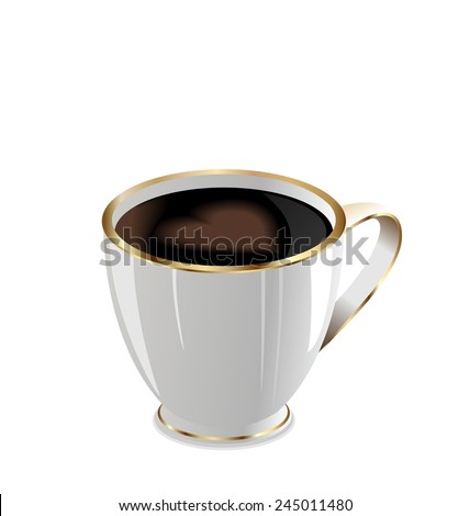 Illustration of coffee mug with love heart isolated on white background - raster - stock photo